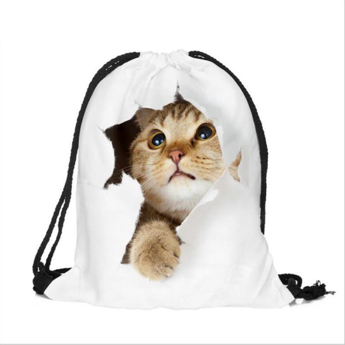 Laundry Bag with Strap Backpack Style Breathable Soft Material Lovely Cat Pattern - Caroeas