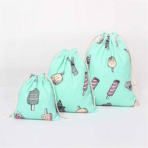 Delicates Laundry Bag Ice Cream Pattern 100% Cotton Soft Touch for Sensitive Skin - Caroeas