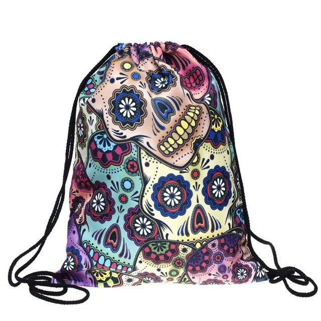 Dorm Laundry Bag Backpack Easy Sort Cute 3D Patterns Easy Clean - Caroeas