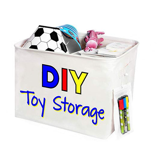 Toy Storage Organizer with Reinforced Handles and Markers to Explore Kids Talent - Caroeas