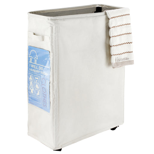 Wheeled Laundry Basket Waterproof with Dust-proof Closure & Sorting Card(White) - Caroeas