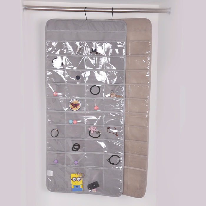 Hanging Jewelry Organizer Closet Slim Design with 80 Clear Pockets to Keep Items Visible - Caroeas
