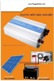 Off-Grid Solar Inverter,Modified 1000 Watts, 12V DC Input. Built-in Solar Panel Charge Controller for 12V Solar Panel