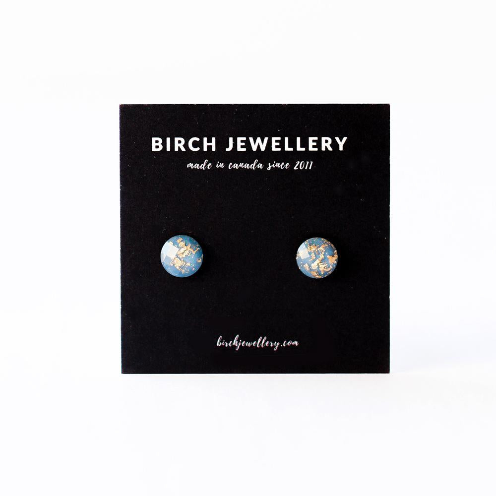 Gold Flake Earrings - Blue