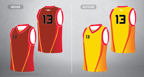 Reversible Basketball Jersey-Red/Gold
