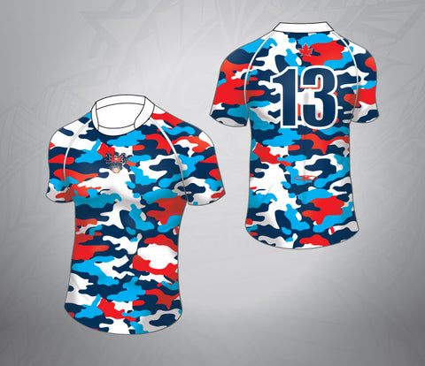 Custom Rugby Jersey-Bright Camo Pattern