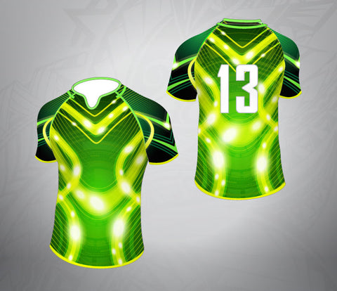 Custom Rugby Jersey- Neon Lights-Green Pattern