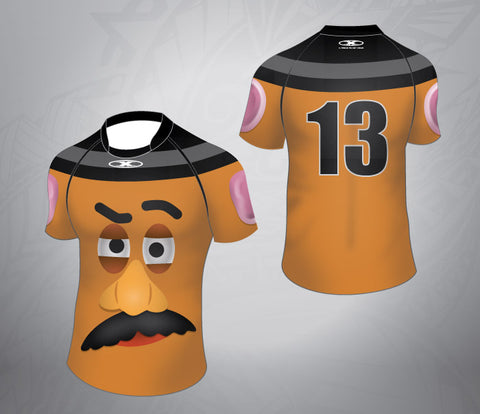 Custom Rugby Jersey Potato Head Pattern