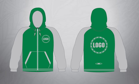 Custom  Full Zip Hoodie- Kelly Green/Grey