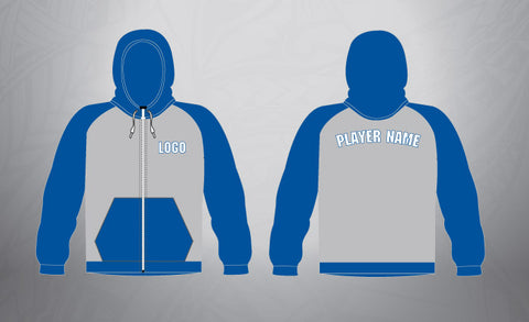 Custom Full Zip Hoodie- Royal /Grey