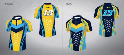 Reversible Rugby League Jersey-Gold/Black/Blue