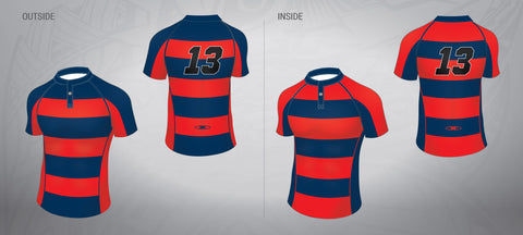 Reversible Rugby Jersey-Red/Navy Stripe