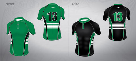Reversible Rugby Jersey-Green/Black Stripe