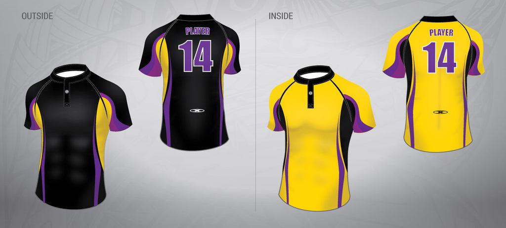 Reversible Rugby Jersey-Gold/Purple/Black