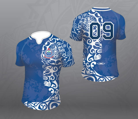 Samoa Blue/White Pattern Rugby Jersey-Women