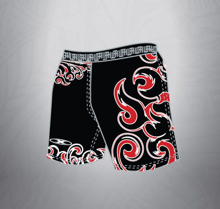 Sublimated Rugby Short Black Red tattoo