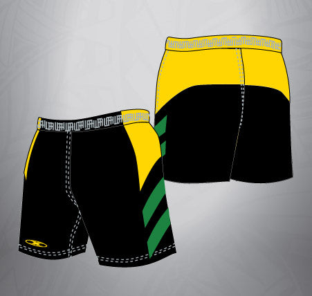 Sublimated Rugby Short Black/Gold/Forest