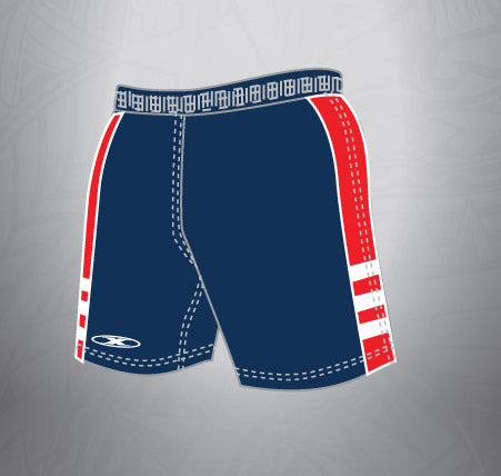 Sublimated Rugby Short Navy/Red white stripe