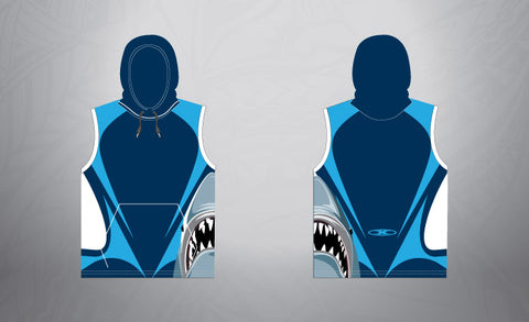 Sublimated Sleeveless Pull Over Hoodie-Navy Shark