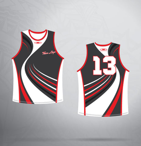 Sleeveless Jersey-Red/Black/White- Swirl