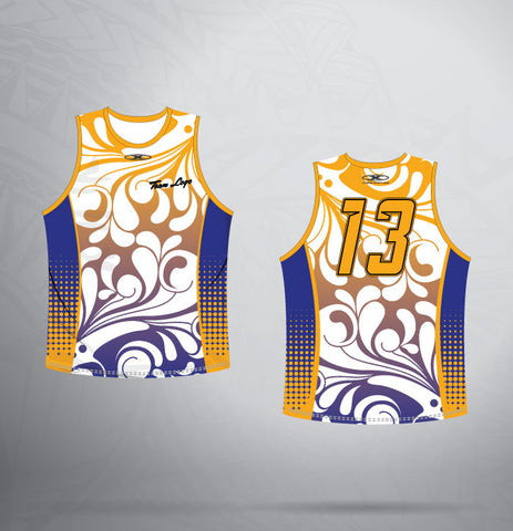 Sleeveless Jersey- Royal/Gold-Floral