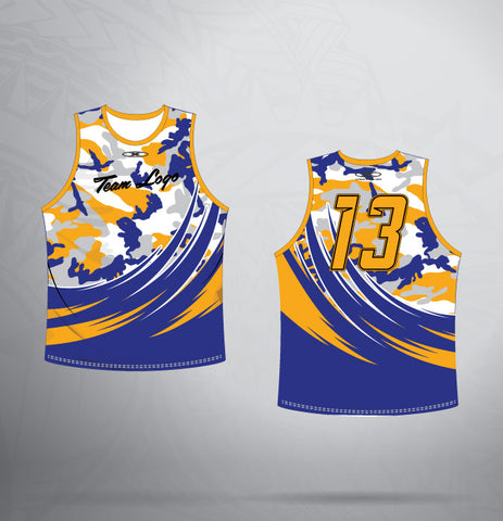 Sleeveless Jersey- Royal/Gold-Army