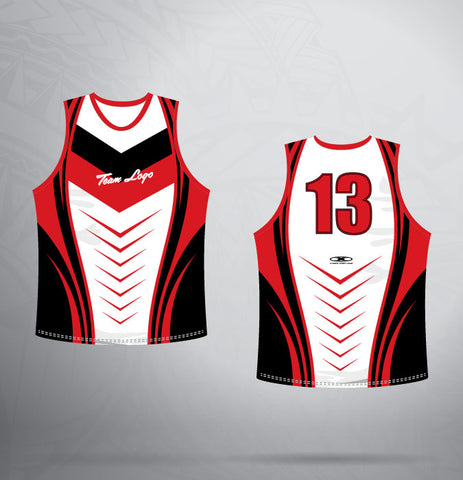 Sleeveless Jersey- Red/White/Black Racing