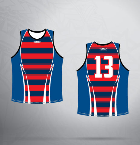 Sleeveless Jersey- Navy/Red/White Pattern
