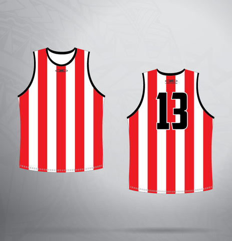 Sleeveless Jersey- Red/White/Black Stripe