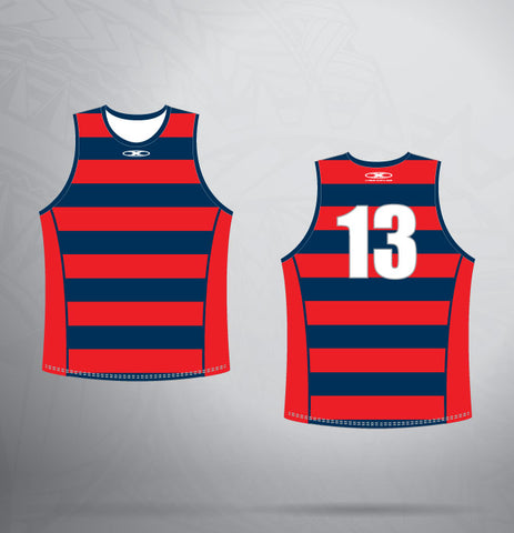 Sleeveless Jersey- Navy/Red