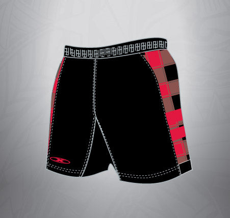 Sublimated Spandex Rugby Short-Black Plaid