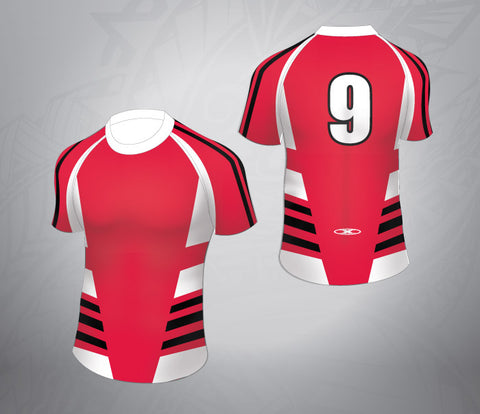 Standard Rugby Jersey-Red/White/Black