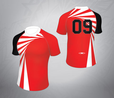 Standard Rugby Jersey-Asymetical Red/White Design