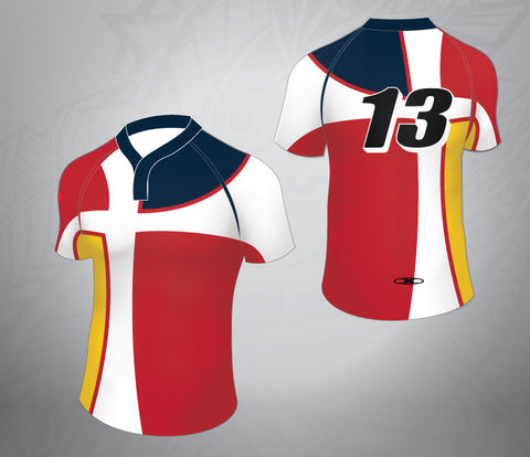 Standard Rugby Jersey-Red/Navy Cross