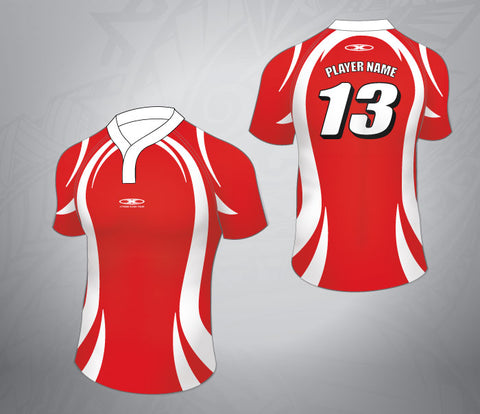 Standard Rugby Jersey-Red/White swirl