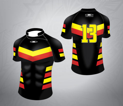 Standard Rugby League Jersey-BlackRed/Yellow