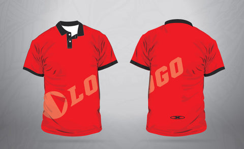 Custom Sublimated Polo Red/Black