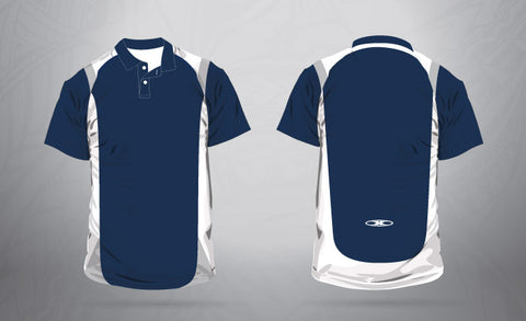 Sublimated Polo- Navy/ White