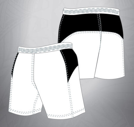 Vented Dri-fit Rugby Shorts-White/Black