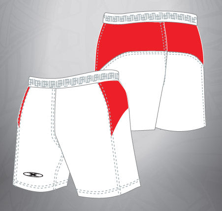 Vented Dri-fit Shorts-White/Red
