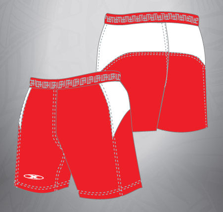 Vented Dri-fit Rugby Shorts-Red/White