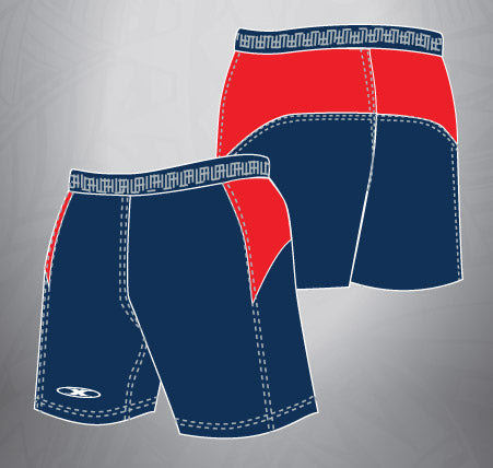 Vented Dri-fit Rugby Shorts-Navy/Red