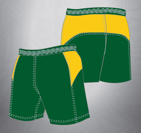 Vented Dri-fit Rugby Shorts-Forest/Gold