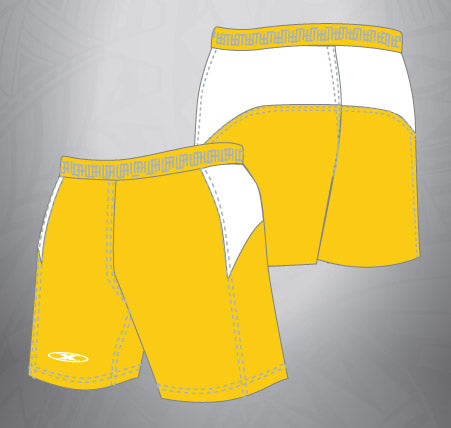 Vented Dri-fit Rugby Shorts-Gold/White