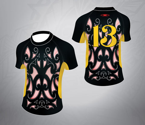 Tattoo Rugby Jersey- Black/Gold