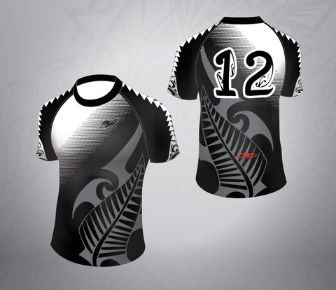 Tattoo Rugby Jersey-Black/white Fade