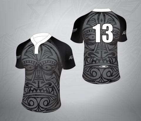 Tattoo Rugby Jersey-Black/white Face