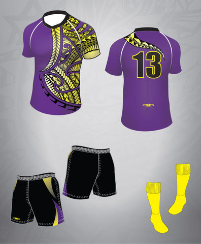 Rugby Team Kit-Purple/Black