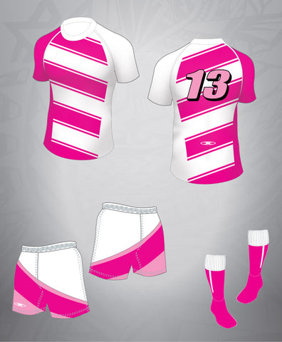 Rugby Team Kit-Pink/White Asymmetrical-Women