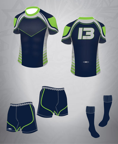 Rugby Team Kit-Navy/Lime/Grey